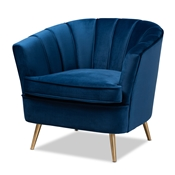 Baxton Studio Emeline Glam and Luxe Navy Blue Velvet Fabric Upholstered Brushed Gold Finished Accent Chair Baxton Studio restaurant furniture, hotel furniture, commercial furniture, wholesale living room  furniture, wholesale chair, classic chair