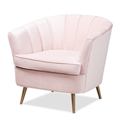 Baxton Studio Emeline Glam and Luxe Light Pink Velvet Fabric Upholstered Brushed Gold Finished Accent Chair Baxton Studio restaurant furniture, hotel furniture, commercial furniture, wholesale living room  furniture, wholesale chair, classic chair