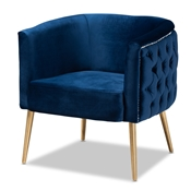 Baxton Studio Marcelle Glam and Luxe Navy Blue Velvet Fabric Upholstered Brushed Gold Finished Accent Chair Baxton Studio restaurant furniture, hotel furniture, commercial furniture, wholesale living room  furniture, wholesale chair, classic chair
