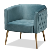 Baxton Studio Marcelle Glam and Luxe Light Blue Velvet Fabric Upholstered Brushed Gold Finished Accent Chair Baxton Studio restaurant furniture, hotel furniture, commercial furniture, wholesale living room  furniture, wholesale chair, classic chair