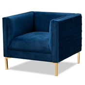 Baxton Studio Seraphin Glam and Luxe Navy Blue Velvet Fabric Upholstered Gold Finished Armchair Baxton Studio restaurant furniture, hotel furniture, commercial furniture, wholesale living room  furniture, wholesale chair, classic chair