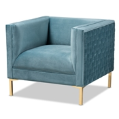 Baxton Studio Seraphin Glam and Luxe Light Blue Velvet Fabric Upholstered Gold Finished Armchair Baxton Studio restaurant furniture, hotel furniture, commercial furniture, wholesale living room  furniture, wholesale chair, classic chair