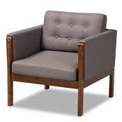 Baxton Studio Lenne Mid-Century Modern Grey Fabric Upholstered Walnut Finished Armchair