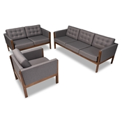 Baxton Studio Lenne Mid-Century Modern Grey Fabric Upholstered Walnut Finished 3-Piece Living Room Set