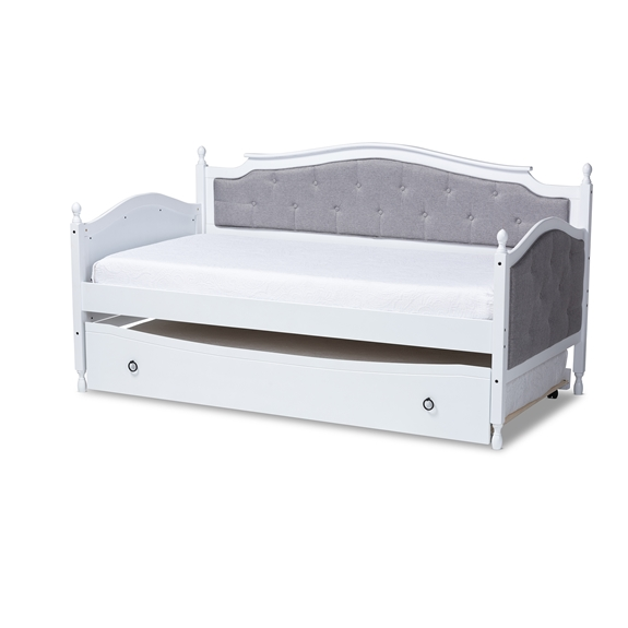 Baxton Studio Marlie Classic and Traditional Grey Fabric Upholstered White Finished Wood Twin Size Daybed with Trundle