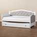 Baxton Studio Marlie Classic and Traditional Grey Fabric Upholstered White Finished Wood Twin Size Daybed with Trundle - MG0034-Grey/White-Daybed