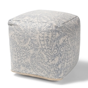 Baxton Studio Juvita Modern and Contemporary Ivory and Blue Handwoven Cotton Paisley Pouf Ottoman