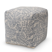 Baxton Studio Juvita Modern and Contemporary Grey and Blue Handwoven Cotton Paisley Pouf Ottoman