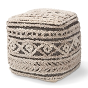 Baxton Studio Cronin Moroccan Inspired Beige and Brown Handwoven Hemp Pouf Ottoman