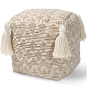 Baxton Studio Noland Moroccan Inspired Natural and Ivory Handwoven Cotton and Hemp Pouf Ottoman
