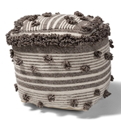 Baxton Studio Eligah Moroccan Inspired Ivory and Brown Handwoven Wool Pouf Ottoman