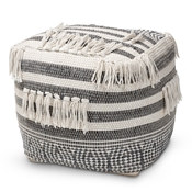Baxton Studio Kirby Moroccan Inspired Grey and Ivory Handwoven Cotton Pouf Ottoman