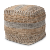 Baxton Studio Grange Moroccan Inspired Natural and Grey Handwoven Hemp Pouf Ottoman