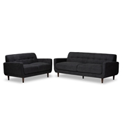 Baxton Studio Allister Mid-Century Modern Dark Grey Fabric Upholstered 2-Piece Living Room Set