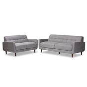 Baxton Studio Allister Mid-Century Modern Light Grey Fabric Upholstered 2-Piece Living Room Set
