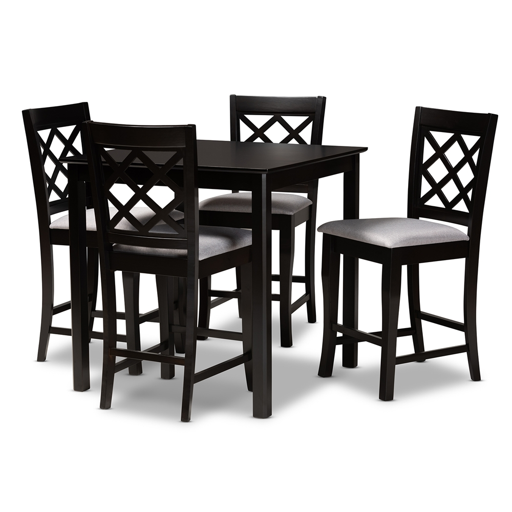 Baxton Studio Alora Modern and Contemporary Grey Fabric Upholstered Espresso Brown Finished 5-Piece Wood Pub Set