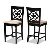 Baxton Studio Arden Modern and Contemporary Sand Fabric Upholstered Espresso Brown Finished Wood Counter Stool (Set of 2)
