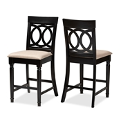 Baxton Studio Verina Modern and Contemporary Sand Fabric Upholstered Espresso Brown Finished Wood Counter Stool (Set of 2)
