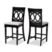 Baxton Studio Verina Modern and Contemporary Grey Fabric Upholstered Espresso Brown Finished Wood Counter Stool (Set of 2)