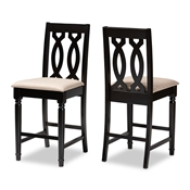 Baxton Studio Darcie Modern and Contemporary Sand Fabric Upholstered Espresso Brown Finished Wood Counter Stool (Set of 2)