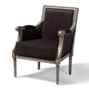 Baxton Studio Georgette Classic and Traditional French Inspired Brown Velvet Upholstered Grey Finished Armchair with Goldleaf Detailing