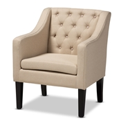 Baxton Studio Brittany Modern and Contemporary Beige Fabric Upholstered Club Chair