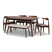 Baxton Studio Aeron Mid-Century Modern Light Gray Fabric Upholstered Walnut Finished Wood 6-Piece Dining Set Baxton Studio restaurant furniture, hotel furniture, commercial furniture, wholesale dining room furniture, wholesale dining sets, classic dining sets