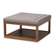 Baxton Studio Alvere Modern and Contemporary Grey Fabric Upholstered Walnut Finished Cocktail Ottoman