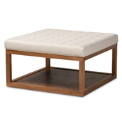 Baxton Studio Alvere Modern and Contemporary Beige Fabric Upholstered Walnut Finished Cocktail Ottoman