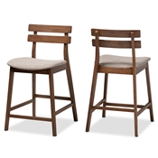 Baxton Studio Larine Modern and Contemporary Light Grey Fabric Upholstered Walnut Finished 2-Piece Wood Counter Stool Set