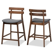 Baxton Studio Larine Modern and Contemporary Dark Grey Fabric Upholstered Walnut Finished 2-Piece Wood Counter Stool Set