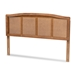 Baxton Studio Marieke Mid-Century Modern Ash Wanut Finished Wood and Synthetic Rattan Full Size Headboard