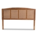 Baxton Studio Marieke Mid-Century Modern Ash Wanut Finished Wood and Synthetic Rattan Full Size Headboard - MG97132-Ash Walnut Rattan-Full-Headboard