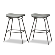 Baxton Studio Jette Modern and Contemporary Grey Fabric Upholstered Dark Grey Metal 2-Piece Bar Stool Set