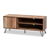 Baxton Studio Iver Modern and Contemporary Rustic Oak Finished 1-Door Wood TV Stand