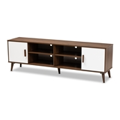 Baxton Studio Quinn Mid-Century Modern Two-Tone White and Walnut Finished 2-Door Wood TV Stand