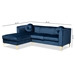 Baxton Studio Giselle Glam and Luxe Navy Blue Velvet Fabric Upholstered Mirrored Gold Finished Left Facing Sectional Sofa with Chaise - TSF-6636-Navy Blue/Gold-LFC