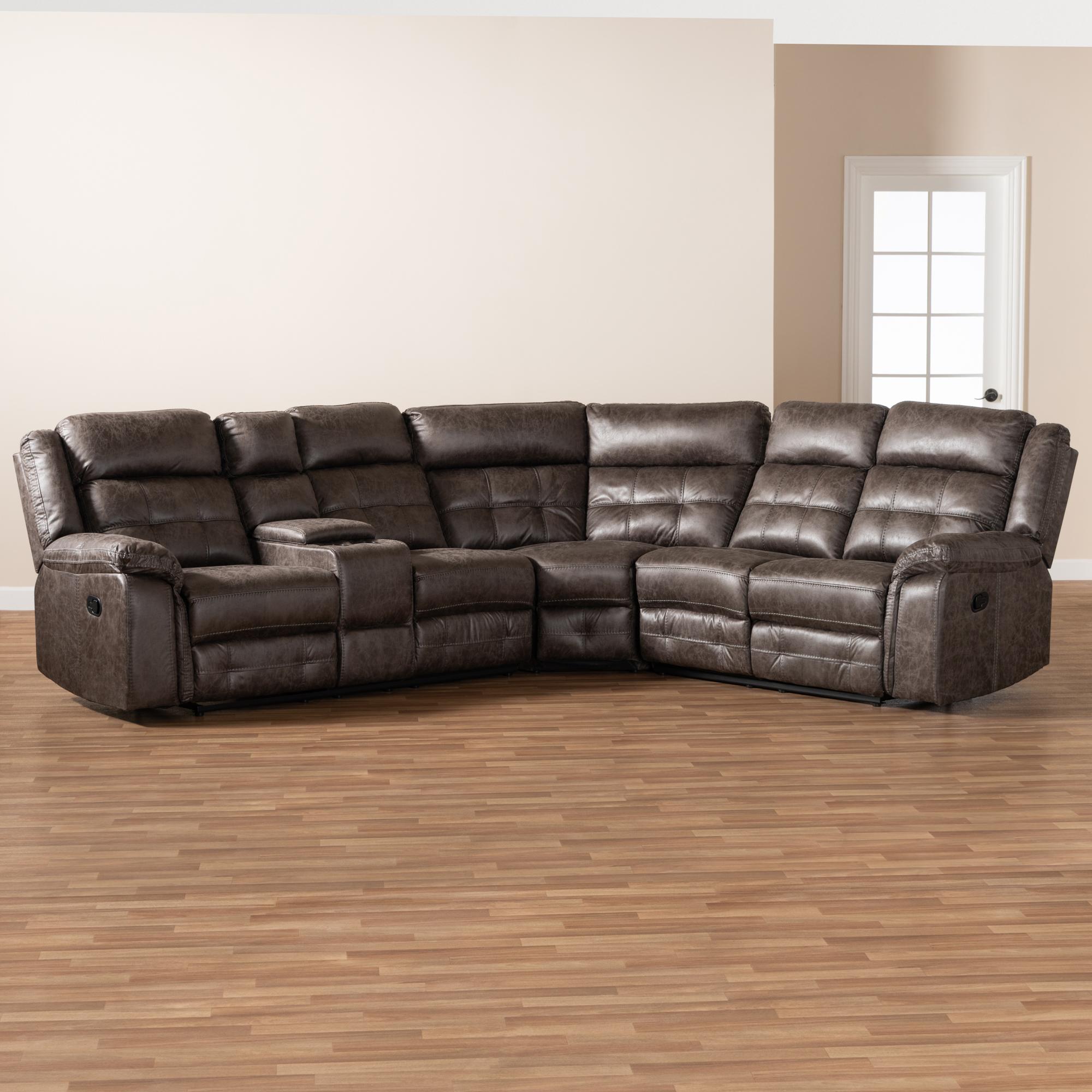 Vesa Modern Faux Leather L-Shaped 6-Piece Sectional ...