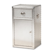 Baxton Studio Serge French Industrial Silver Metal 1-Door Accent Storage Cabinet