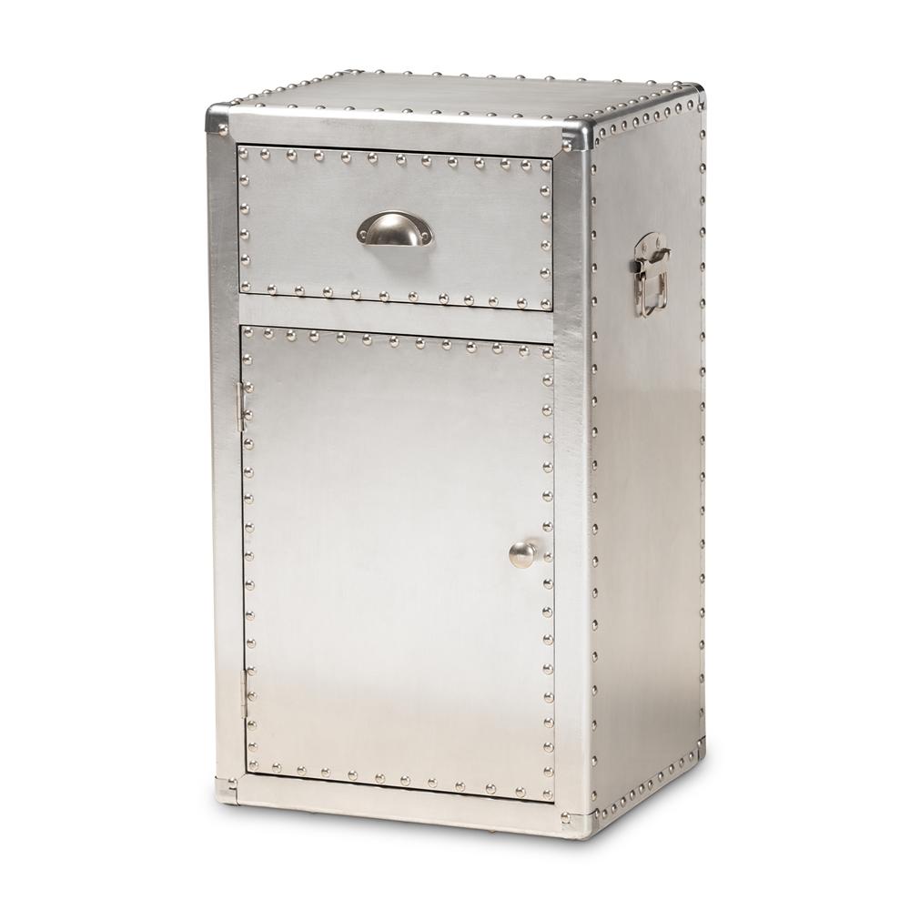 Baxton Studio Serge French Industrial Silver Metal 1-Door Accent Storage Cabinet