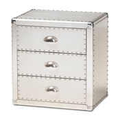 Baxton Studio Armel French Industrial Silver Metal 3-Drawer Nightstand