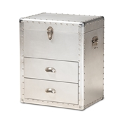 Baxton Studio Serge French Industrial Silver Metal 2-Drawer Accent Storage Chest