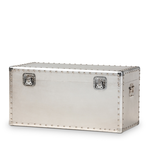 Baxton Studio Serge French Industrial Silver Metal Storage Trunk