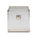Baxton Studio Serge French Industrial Silver Metal Storage Trunk - JY17B172M-Silver-1PC Trunk