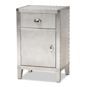 Baxton Studio Romain French Industrial Silver Metal 1-Door Accent Storage Cabinet