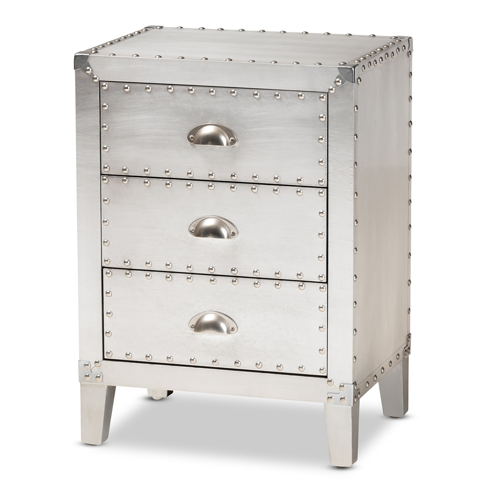 Baxton Studio Claude French Industrial Silver Metal 3-Drawer Nightstand