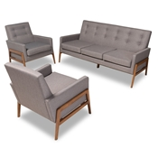 Baxton Studio Perris Mid-Century Modern Light Grey Fabric Upholstered Walnut Finished Wood 3-Piece Living Room Set
