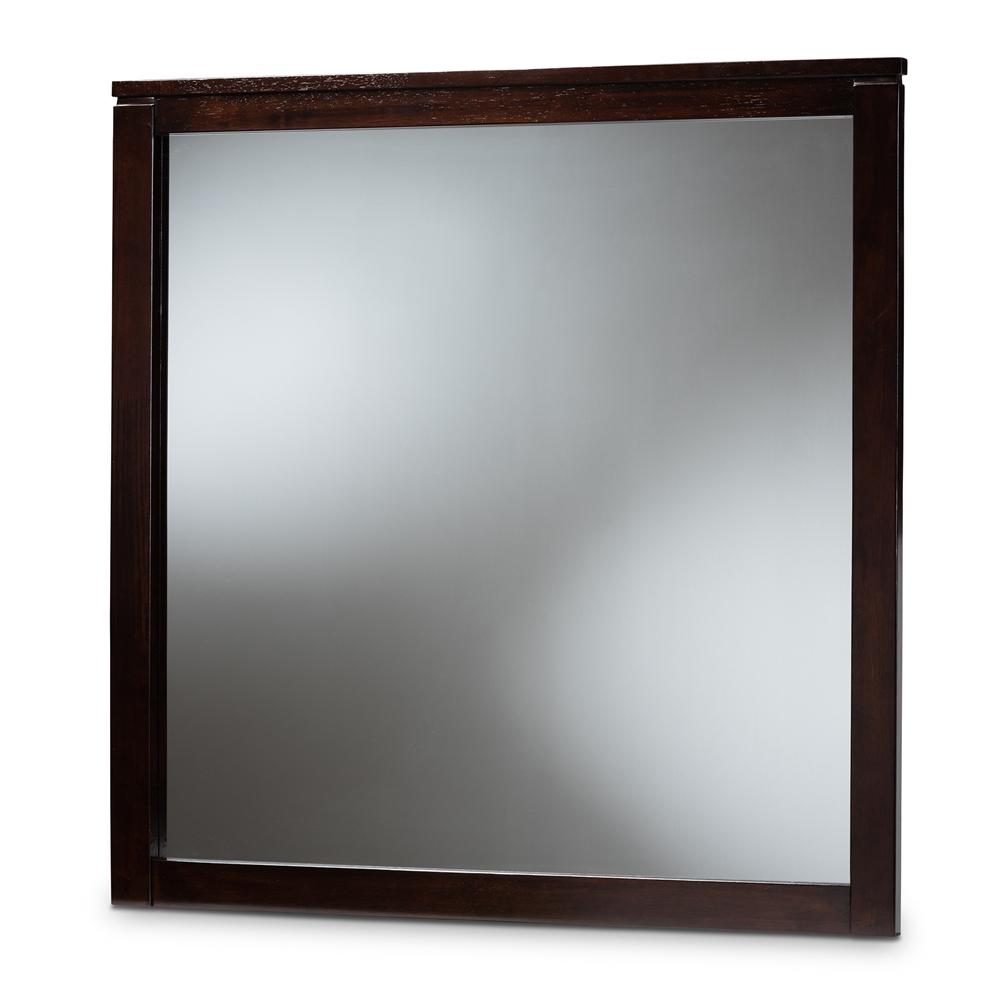 Baxton Studio Eaton Modern and Contemporary Dark Brown Finished Wood Dresser Mirror