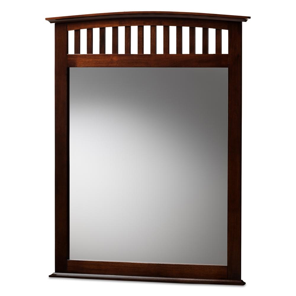 Baxton Studio Metropolitan Modern and Contemporary Dark Brown Finished Wood Dresser Mirror