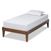 Baxton Studio Lucina Mid-Century Modern Walnut Brown Finished Twin Size Platform Bed Frame